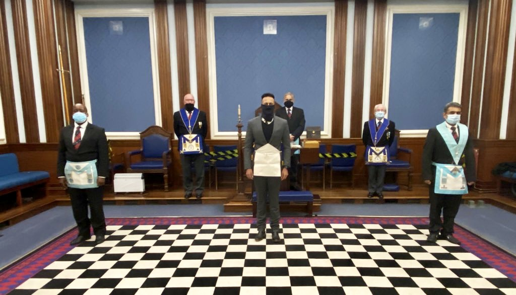 This photo is of the six lodge members who met to initiate a new member in October 2020 under a rule of 6 covid restrictions