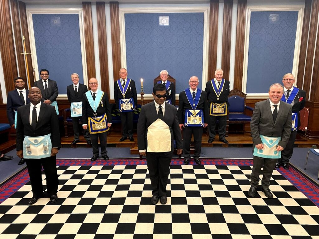 This image is of the some of the members of the Lodge with our new initiate and his guest to the right on Friday 21st May 2021